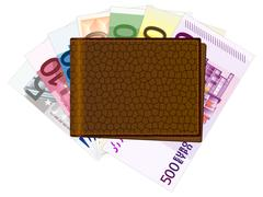 wallet with euros banknotes - stock illustration
