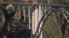 Pull out shot of Bixby creek bridge Stock Footage