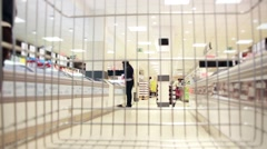 Shopping Cart In Supermarket With People Stock Footage