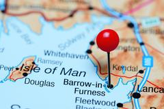 Barrow-in-Furness pinned on a map of UK - stock photo
