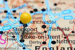Stoke-on-Trent pinned on a map of UK - stock photo