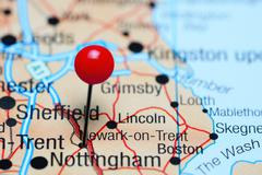 Newark-on-Trent pinned on a map of UK - stock photo