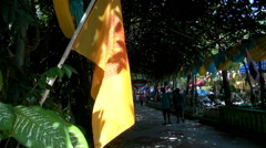 A Buddhist Temple's Approach Avenue Is Adorned With Flags Stock Footage