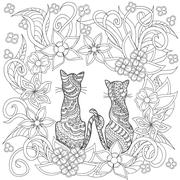 hand drawn decorated cartoon cats into flowers - stock illustration