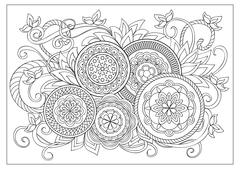 Image for adult coloring page Stock Illustration