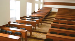 Empty lecture hall at school after lessons Stock Footage