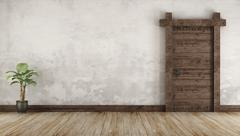 Living room in rustic style without furniture Stock Illustration