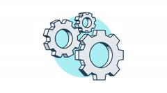 Cogwheels rotation 360 degrees - stock footage