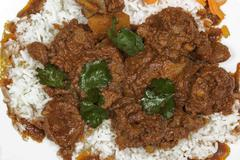 Close up of Mutton Curry with Jasmine Rice - stock photo