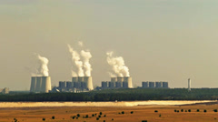 powerstations smokestacks and cooling towers timelapse - stock footage