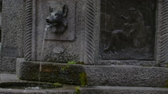 Wolf fountain and Saint Francis of Assisi, Vigevano, PV, Italy Stock Footage