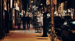 City street at night. 4K Broadcast Quality Stock Footage