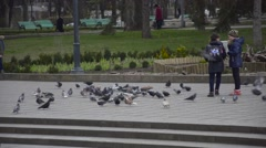 Children feed pigeons flying near them - stock footage