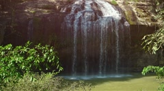 Veil of Water Tumbling over Rocky Face of Prenn Waterfall, with Sound Stock Footage