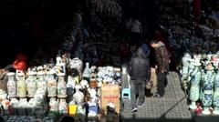 Beijing Panjiayuan antique market Stock Footage