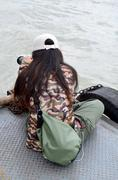 Thai women shooting photo in Long boat Racing Stock Photos