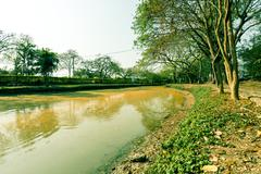 lake at the public park in drought - stock photo