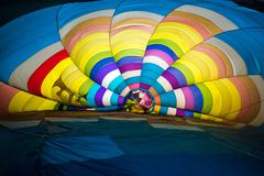 colorful background of hot air balloon from the inside - stock photo