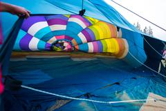Colorful background of hot air balloon from the inside Stock Photos