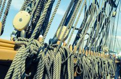 Blocks and tackles of a sailing vessel Stock Photos