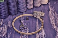 The stylized retro photo objects for needlework - stock photo