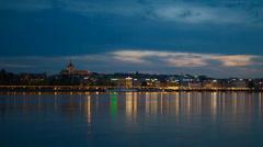 Geneva lake view day to night timelapse Stock Footage