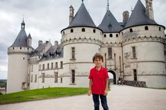 Portrait of a child in front of Chaumont castle Stock Photos