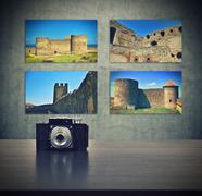 Four picture with stronghold Stock Photos