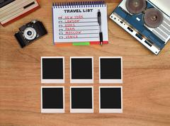 Six blank foto card. - stock photo