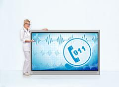 911 symbol on tv screen Stock Photos