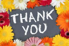 Thank you card garden with colorful flowers flower board Stock Photos