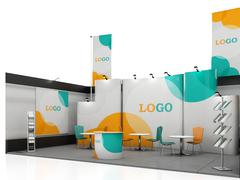 Blank creative exhibition stand design with color shapes. Booth template. - stock illustration