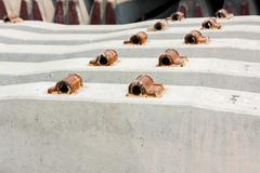 railway sleepers made of concrete - stock photo