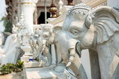 white elephant statue in thai temple at Wat Rong Khun,Thailand. - stock photo