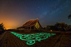 Temple Wat Sirindhorn, Phibun Mangsahan of milky way background,Ubon Ratchath - stock photo