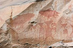 Ancient painted at Pa Tam National Park in the Ubon Ratchathani province , Th Stock Photos