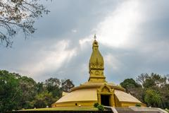 Golden pagoda architecture at wat Nong Pah Pong in Ubon Ratchathani province, Stock Photos