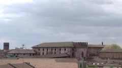 Panorama of Cathedral and Bramante tower from rooftops, Vigevano, PV, Italy Stock Footage