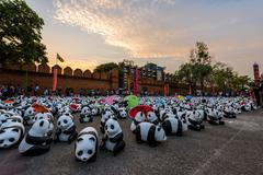 CHIANG MAI, Thailand - March 19, 2016 : 1600 Pandas World Tour in Thailand by Stock Photos