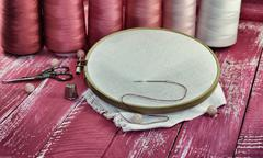 Vintage photos of items for sewing Stock Photos