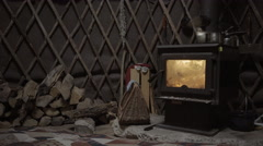 Wood burning stove in rustic environment in 4k Stock Footage