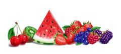 Various fruit composition, on white background. Airbrush illustration. - stock illustration