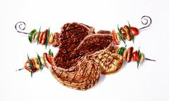 Grilled mixed steaks and skewers composition. Airbrush illustration. Stock Illustration