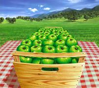 Green apples into a wooden box on a table, with landscape and apple trees in  - stock illustration