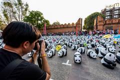 CHIANG MAI, Thailand - March 19, 2016 : 1600 Pandas World Tour in Thailand by Stock Photos
