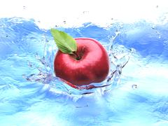 Red apple with leaf, splashing into water. bird eye view. - stock illustration