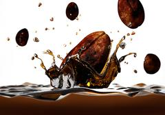 Coffee bean falling into a dark liquid, forming a crown splash, with a few ot - stock illustration