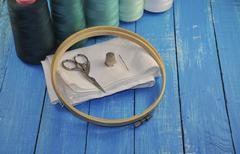 Set for needlework and embroidery sewing Stock Photos