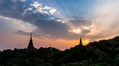Scene of a sunset at two pagoda on the top of Inthanon mountain, Chiang Mai,  Stock Photos
