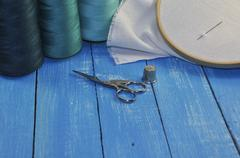 items for needlework and sewing - stock photo